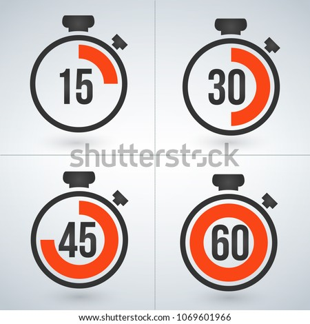 stopwatch set for every 15 minutes. vector illustration isolated on modern background. stock photo © kyryloff