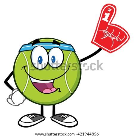 Szczęśliwy piłka tenisowa maskotka cartoon charakter piana Zdjęcia stock © hittoon
