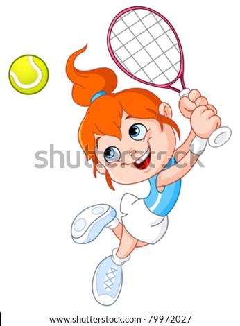 Cute Tennis Ball Player Cartoon Character Holding A Tennis Ball And Racket Stock photo © hittoon