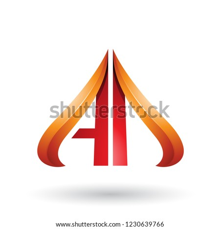 Orange and Red Embossed Arrow-like Letters A and D Vector Illust Stock photo © cidepix