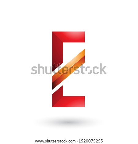 Stock photo: Red and Orange Letter E with a Diagonal Line Vector Illustration
