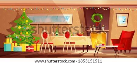 vermelho · papai · noel · poltrona · ilustração · confortável · mobiliário - foto stock © IvanDubovik