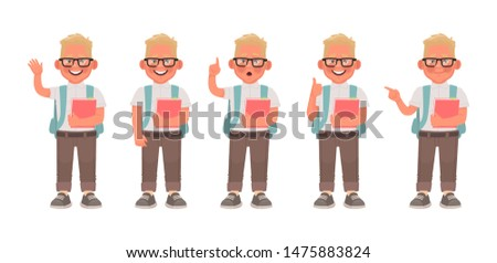 Boy Avatar Set Kid Vector. Primary School. Face Emotions. Expression, Positive Person. Placard, Pres Stock photo © pikepicture