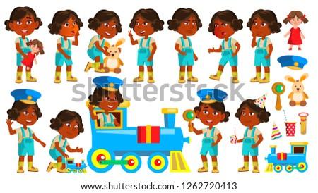 Girl Kindergarten Kid Poses Set Vector. Indian, Hindu. Asian. Pretty Positive Baby. Leisure. Playgro Stock photo © pikepicture