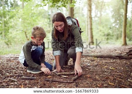детей кемпинга из лесу иллюстрация девушки Сток-фото © colematt