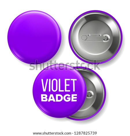 Violet Badge Mockup Vector. Pin Brooch Violet Button Blank. Two Sides. Front, Back View. Branding De Stock photo © pikepicture