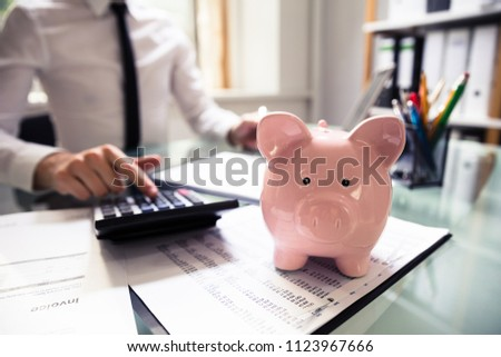 close up of piggybank in front of businessman using calculator stock photo © andreypopov