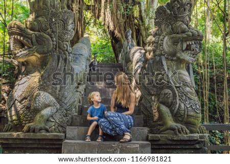 Stockfoto: Moeder · zoon · bos · aap · bali · Indonesië