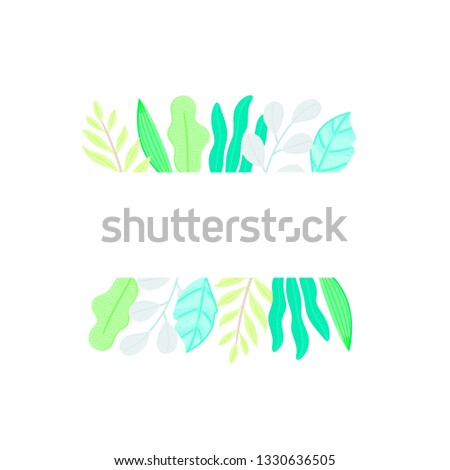 rectangular frame decorated different leaves in flat style plase for taxt simple shapes nature el stock photo © user_10144511