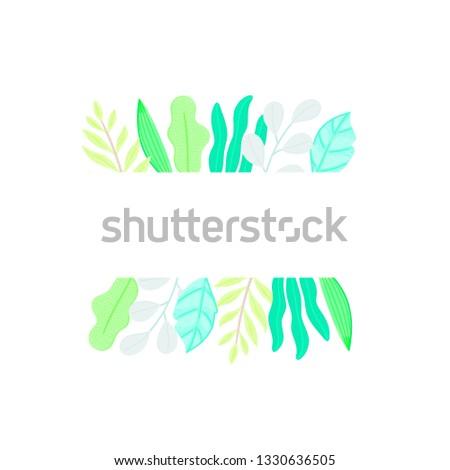 Retangular quadro decorado diferente folhas estilo Foto stock © user_10144511