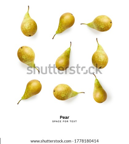 Green conference pears isolated on white background. With clipping path. Collection. Stock photo © xamtiw