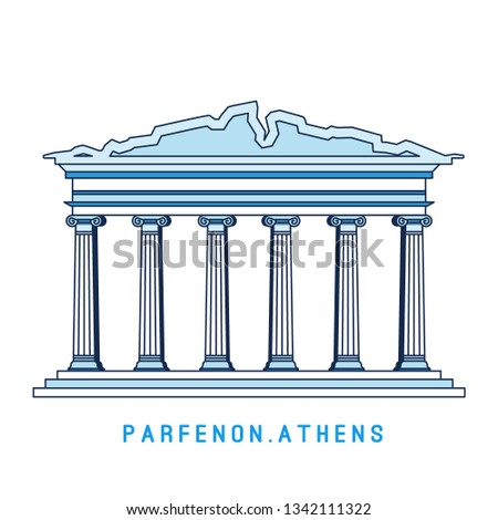 Line art Parthenon, Athens, Greece, European famous sight, old temple, vector illustration in flat s Stock photo © MarySan