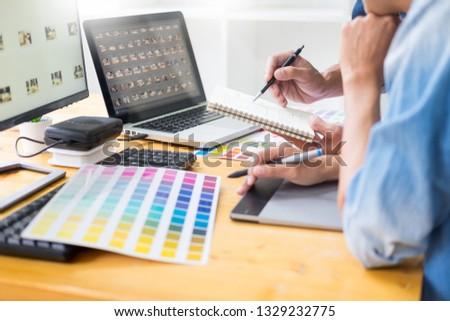 Grafikus designer csapat dolgozik web design szín Stock fotó © snowing