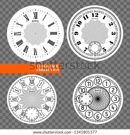 Clock face blank set isolated on transparent background. Vector watch design. Vintage roman numeral  Stock photo © Iaroslava
