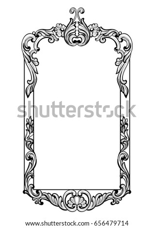 imperial baroque mirror frame vector french luxury rich intricate ornaments victorian royal style stock photo © frimufilms