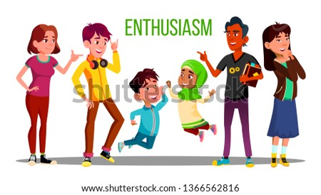 Enthusiastic Multiethnic Students, Adults, Children Vector Characters Сток-фото © pikepicture