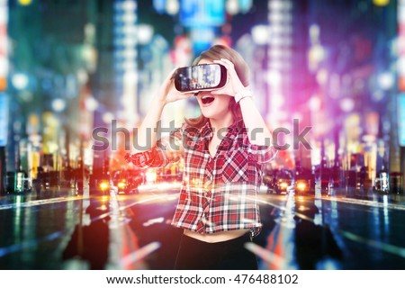 güzel · genç · kadın · izlerken · gözlük · mutlu · genç - stok fotoğraf © dash