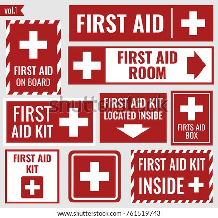 Green First aid kit label or sign. Medical box with cross. Medical equipment for emergency. Healthca stock photo © kyryloff