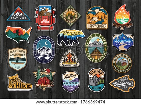 Vintage travel logos patches set. Hand drawn camping labels designs. Texas, backpacking, surfing. Ou Stock photo © JeksonGraphics