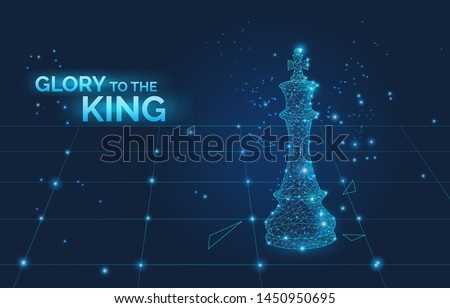 glory to the king sign and low poly chess king on chess board, business strategy and leadership symb Stock photo © MarySan
