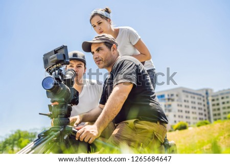 Camera exploitant directeur bespreken procede commerciële Stockfoto © galitskaya