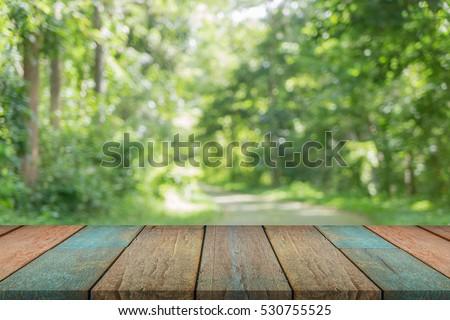 Kiválasztott fókusz üres fa asztal kilátás zöld Stock fotó © Freedomz