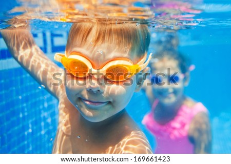 Close-up underwater portrait of the two cute smiling kids VERTICAL FORMAT for Instagram mobile story Stock photo © galitskaya