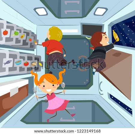 Stickman Kids Space Station Kitchen Illustration Stock photo © lenm