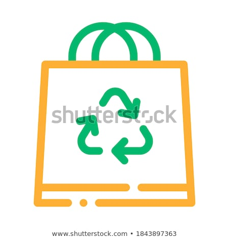 shopping bag with handle and recycle mark vector stock photo © pikepicture