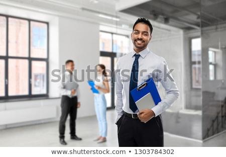 ázsiai · indiai · üzletember · mosolyog · közelkép · portré - stock fotó © dolgachov