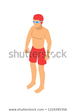 standing single swimmer cartoon vector emblem stock photo © robuart