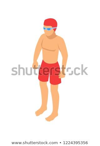 Stock fotó: áll · úszó · rajz · vektor · embléma · férfi