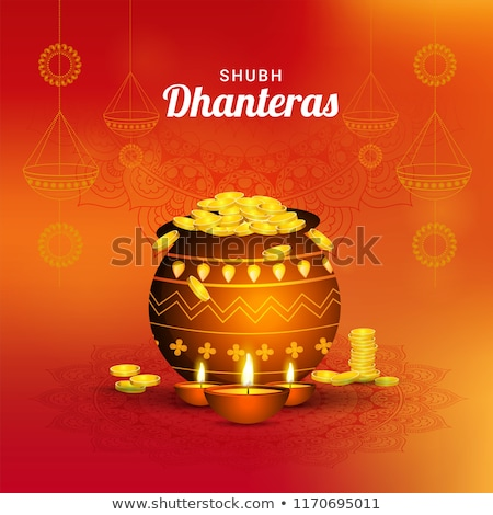 shubh dhanteras orange festival card design background Stock photo © SArts
