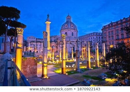 rome ancient trajans forum square of rome dawn view stock photo © xbrchx