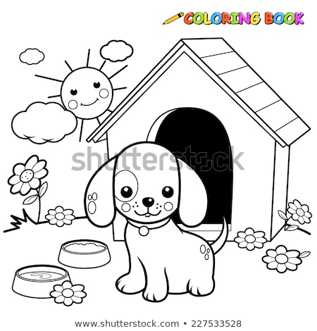 Cartoon chien livre de coloriage page blanc noir illustration Photo stock © izakowski