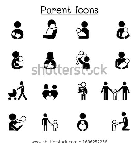 Symbol Mutter Kind Illustration weiß Familie Stock foto © get4net