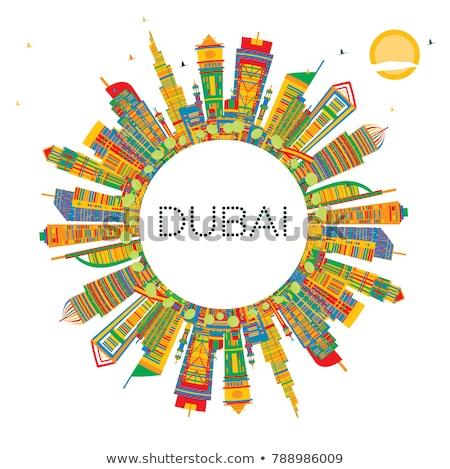 Outline Dubai City skyline with blue skyscrapers and copy space Stock photo © ShustrikS