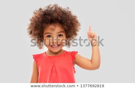 アフリカ系アメリカ人 少女 ポインティング 指 アップ ストックフォト © dolgachov