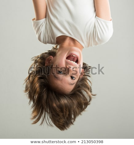 Ondersteboven kid grappig glimlach gelukkig kind Stockfoto © Lopolo