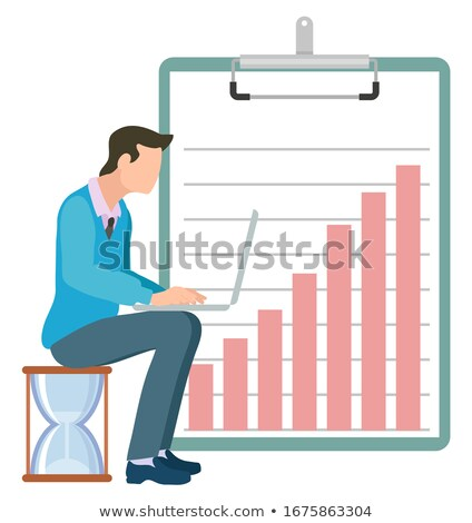 Man Sits on Hourglass Typing on Laptop, Clipboard Stock photo © robuart