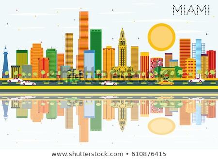 Skicc Miami sziluett kék épületek üzleti út Stock fotó © ShustrikS