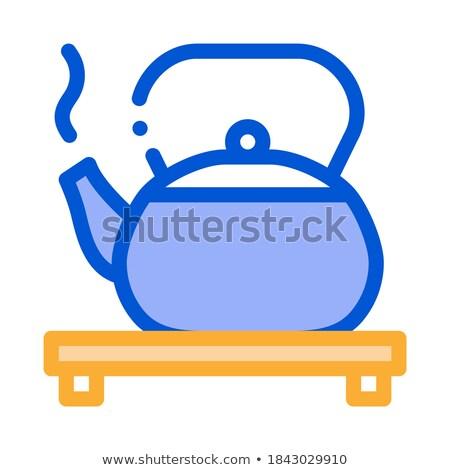 Forró bogrács áll ikon vektor skicc Stock fotó © pikepicture