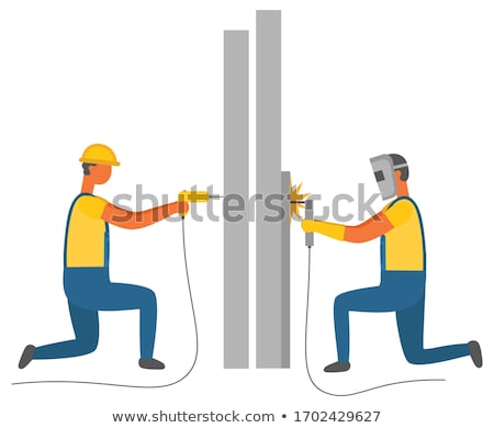Welding and Drilling Character, Builders Handymen Stock photo © robuart