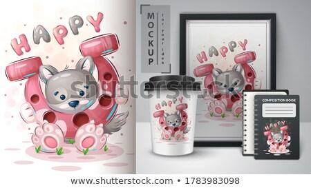 オオカミ 馬蹄 ポスター ベクトル eps 10 ストックフォト © rwgusev
