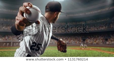 leder · handschoen · honkbalknuppel · groene · toonhoogte · gras - stockfoto © vladacanon