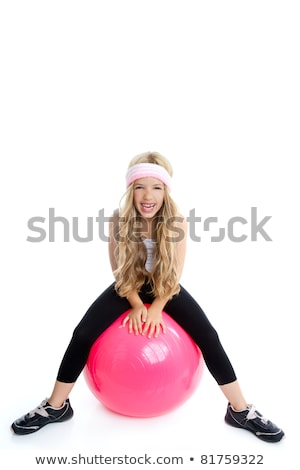 children gym yoga girl with pilates pink ball stock photo © lunamarina