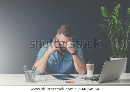Stockfoto: Triest · zakenman · vergadering · sofa · telefoon · business