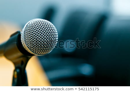 Conference table, microphones close-up Stock photo © vlaru