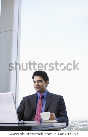 üzletember ül kávézó ablak lefelé kicsi Stock fotó © iofoto