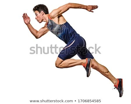 atlet · adam · genç · bakıyor · yalıtılmış · beyaz - stok fotoğraf © sapegina